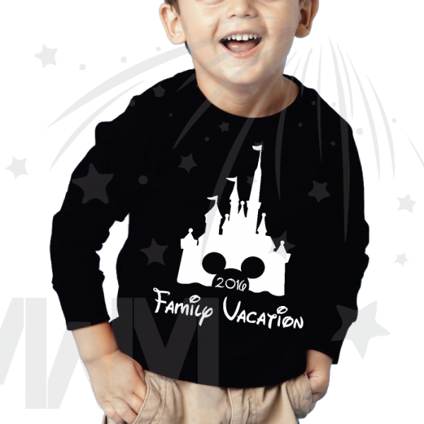 disney family vacation cinderella castle mickey on black long sleeve