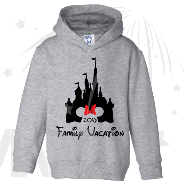 disney family vacation cinderella castle minie mouse red bow on grey pullover