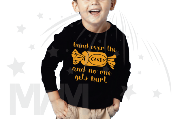 Hand Over the Candy And No One Gets Hurt Halloween kids black long sleeve shirt
