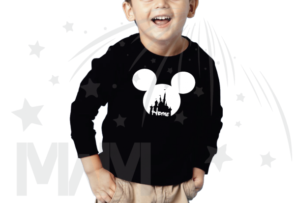 Disney Cinderella Home Mickey Head black kids long sleeve tshirt Married With Mickey