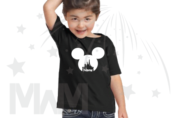 Disney Cinderella Home Mickey Head Toddler black tshirt Married With Mickey