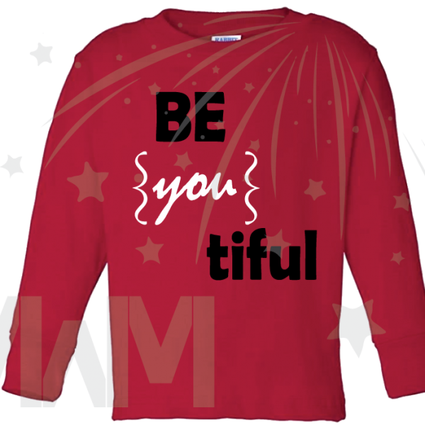 Be you tiful Beautiful cute shirt toddler red long sleeve married with mickey
