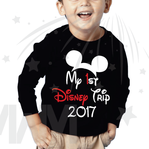 My 1st First Disney Trip 2017 Boy's black long sleeve Married With Mickey