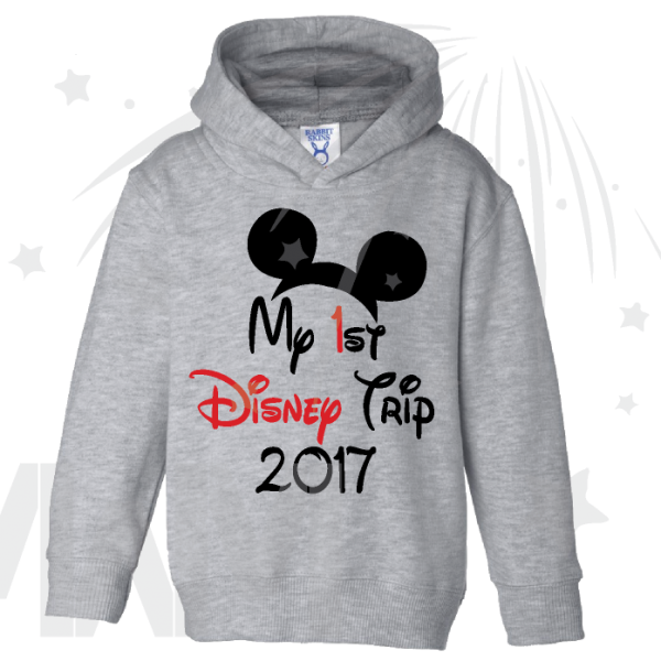 My 1st First Disney Trip 2017 Boy's Toddler grey hoodie Married With Mickey