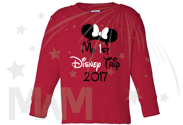 My 1st First Disney Trip 2017 Girl's Design Toddler red long sleeve tshirt