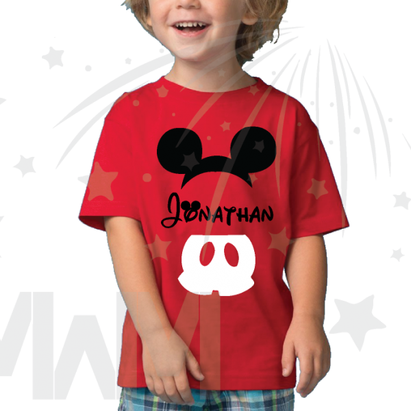 Mickey Mouse Costume Mickey Pants Mickey Ears With Custom Name Toddler red tee married with mickey mwm