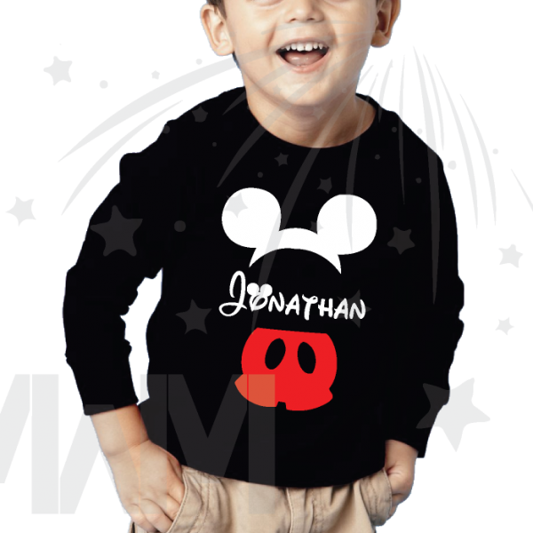 Mickey Mouse Costume Pants Ears With Custom Name Toddler black long sleeve