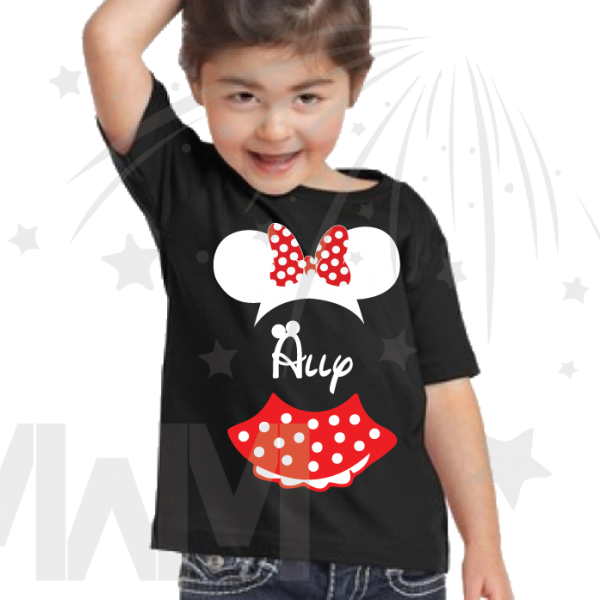 Minnie Mouse Costume Minnie Polka Dot Skirt Ears With Custom Name Toddler black tee