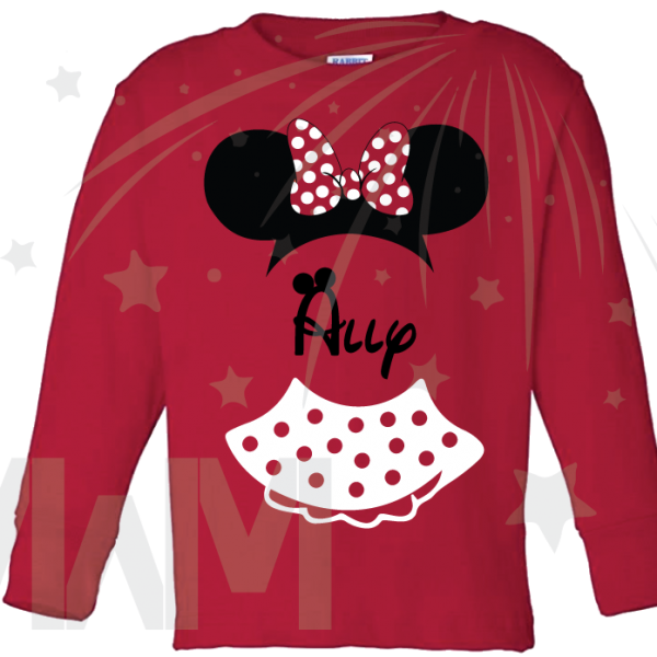 Minnie Mouse Costume Minnie Polka Dot Skirt Ears With Custom Name Toddler red long sleeve tshirt