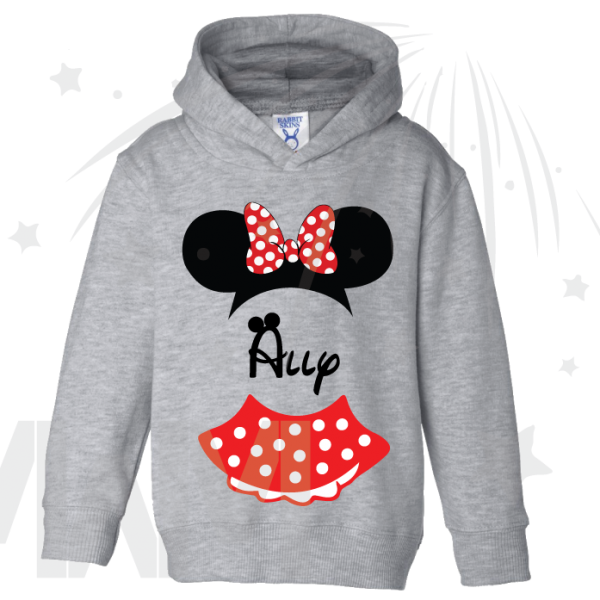 Minnie Mouse Costume Minnie Polka Dot Skirt Ears With Custom Name Toddler grey hoodie