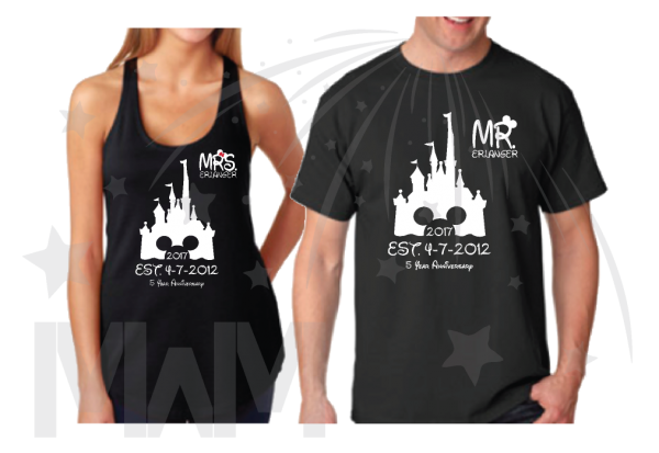 mickey mouse matching couple black tank top tees shirts Mr Mrs Last Name Cinderella Castle Mickey Mouse Head 2017 Est Wedding Date married with mickey