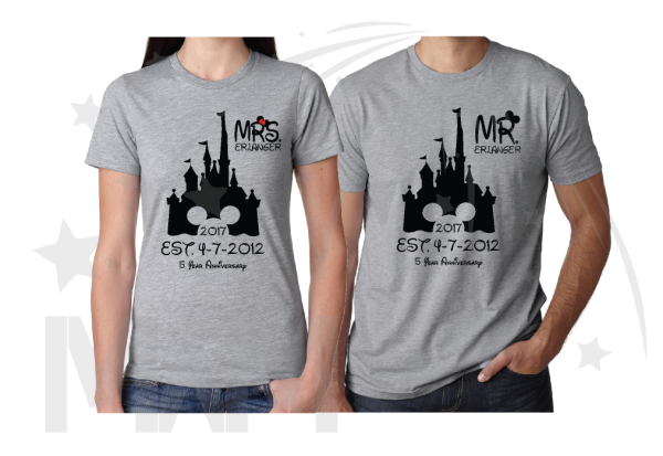 disney couple t shirts grey color Mr Mrs Last Name Cinderella Castle Mickey Mouse Head 2017 Est Wedding Date married with mickey