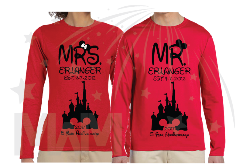 disney matching red long sleeve t shrits Mr Mrs Last Name Est Wedding Date Cinderella Castle Mickey Mouse Head 2017 5 Year Anniversary
