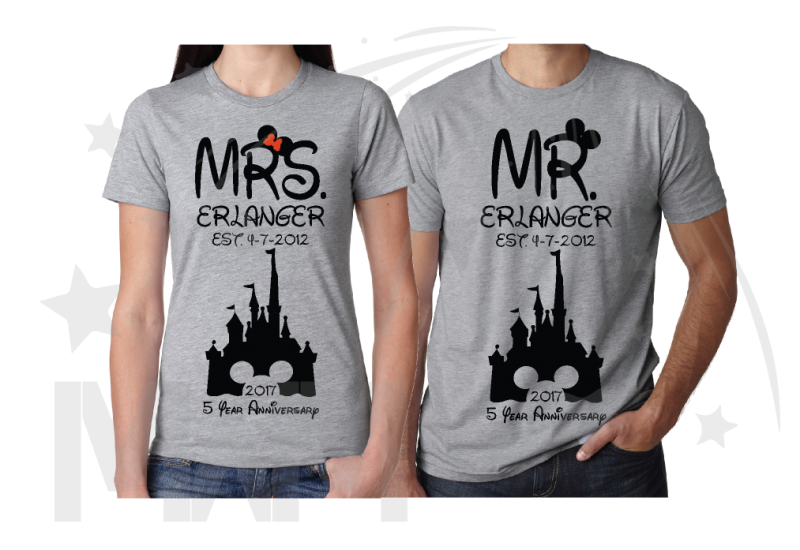 Mr Mrs Last Name Est Wedding Date Cinderella Castle Mickey Mouse Head 2017 5 Year Anniversary (enter your dates and names) married with mickey