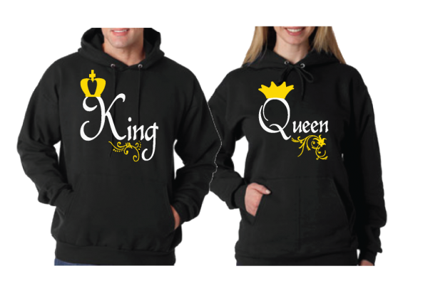 Queen and King Matching Couple Black Hoodies Married With Mickey