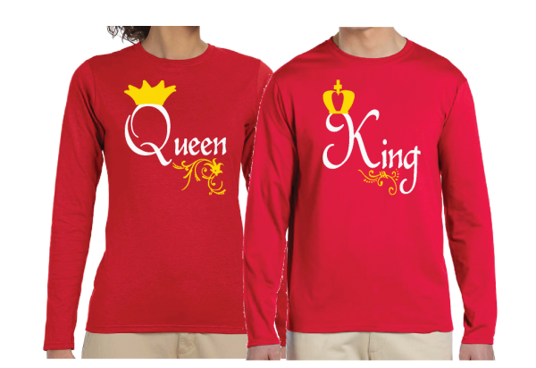 Queen and King Matching Couple Red Long Sleeve Shirts Married With Mickey