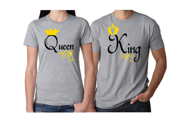 Queen and King Matching Couple Grey TShirts