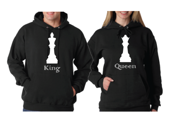 Queen and King Chess Matching pullover hoodies mwm