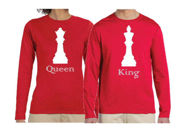 Queen and King Chess Matching Shirts red long sleeve shirts ladies nad mens cut mwmw