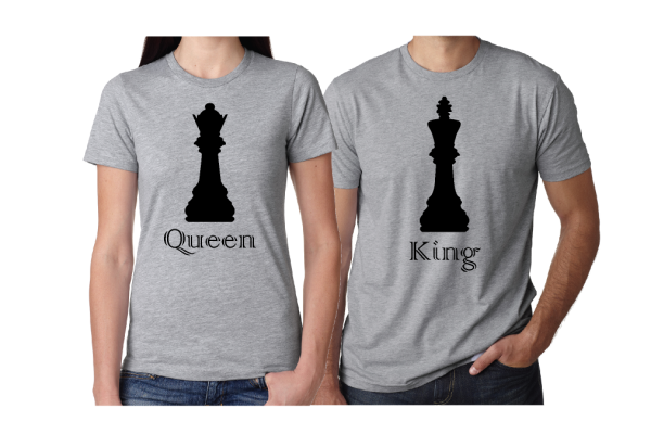 Queen and King Chess Matching grey tshirts ladies cut nad mens cut married with mickey