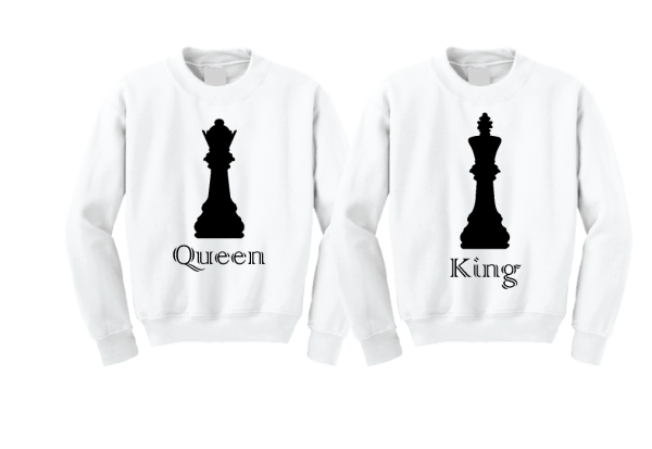 Queen and King Chess Matching Crewneck Sweatshirts married with mickey