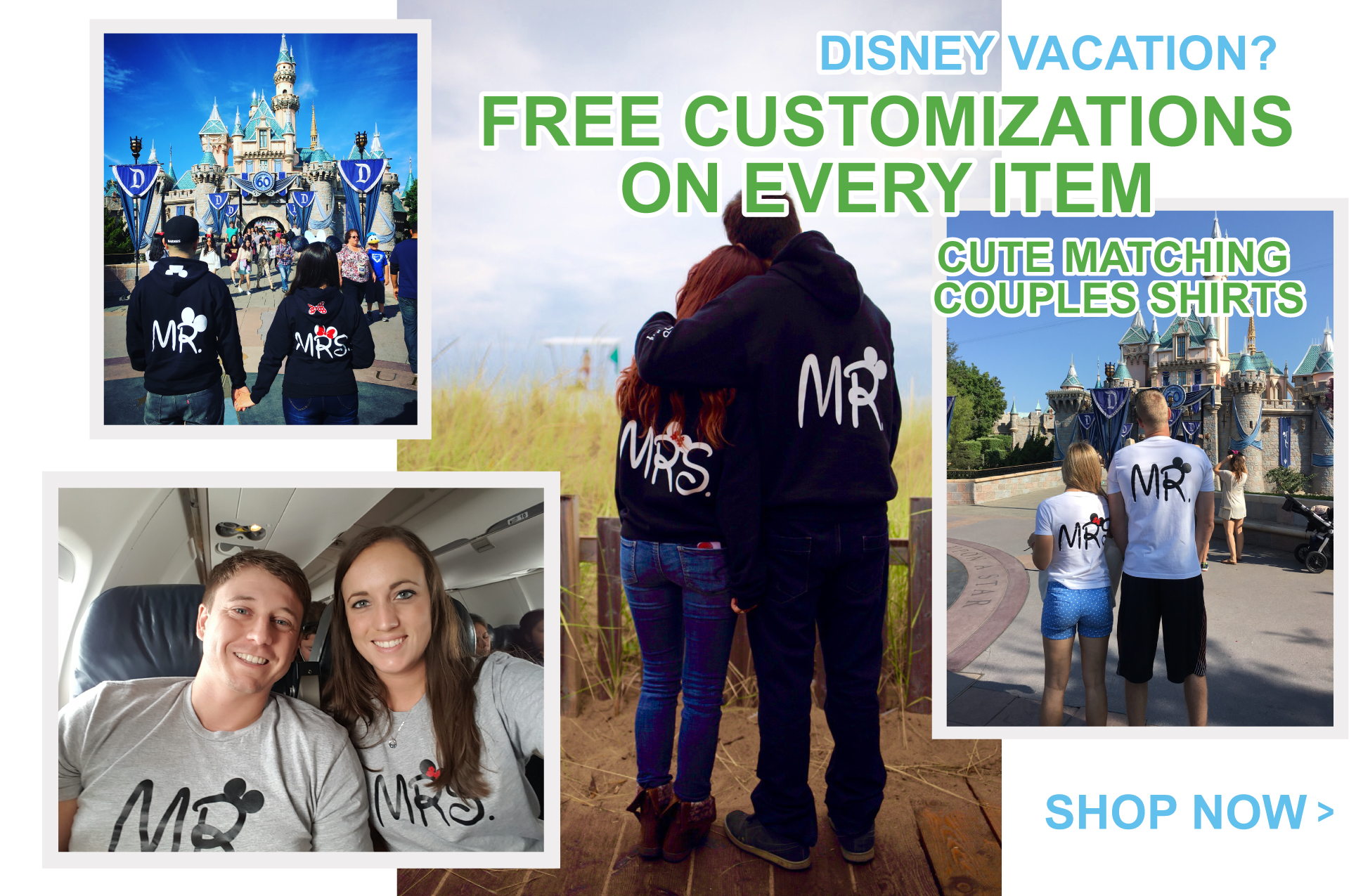 Disney Vacation Matching Couples Shirts with custom names and dates