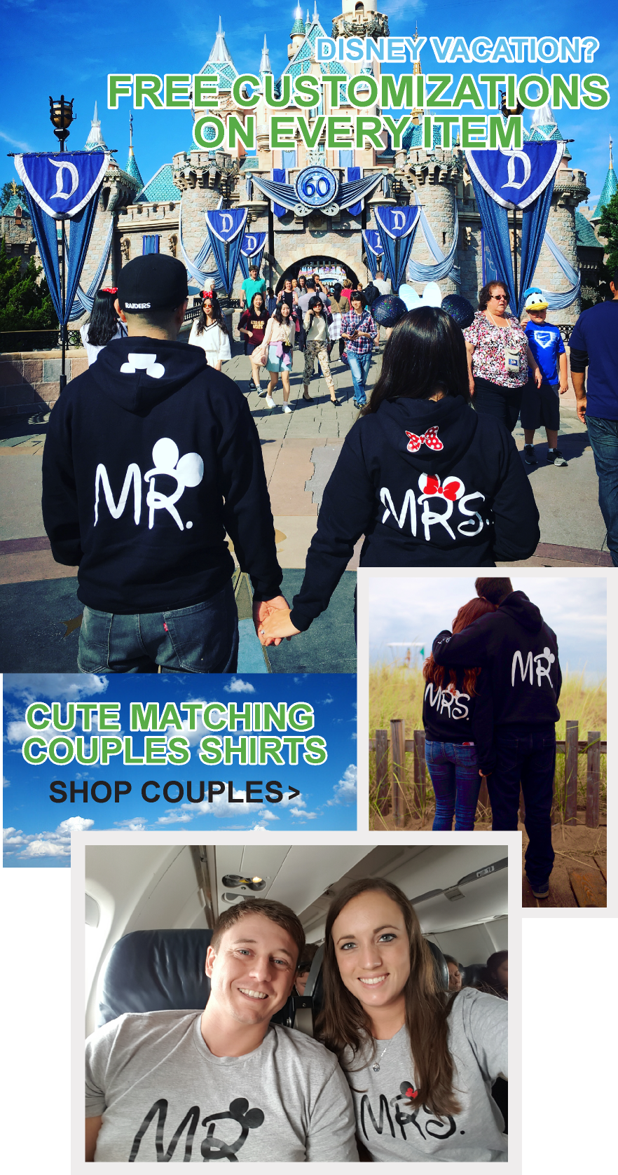Mr and Mrs couples wearing hoodies and t shirts  at Disney World