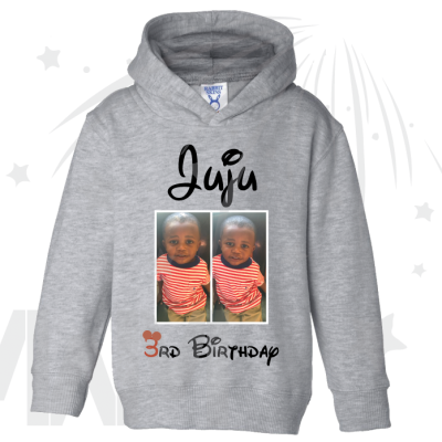 Juju 3rd Birthday Picture Of Juju Disney Font Toddler Size Grey Hoodie