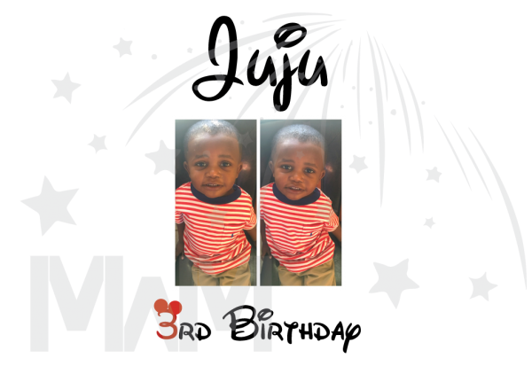 Juju 3rd Birthday Picture Of Juju Disney Font married with mickey full color print