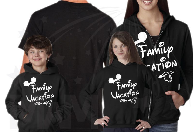 Family Set Of Shirts Choose Any Style, Family Vacation 2017 Mickey Mouse Glove Hand black toddler pullover hoodie unisex zip up hoodie
