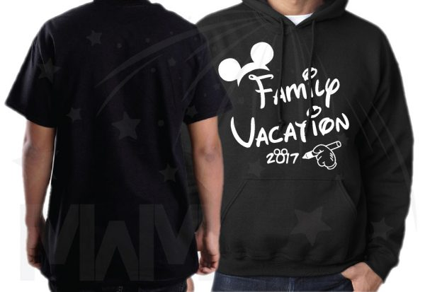 Family Set Of Shirts Choose Any Style, Family Vacation 2017 Mickey Mouse Glove Hand white graphic vinyl heat press mens hoodie