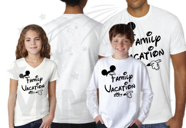 Family Set Of Shirts Choose Any Style, Family Vacation 2017 Mickey Mouse Glove Hand white toddler v neck boy's long sleeve unisex tshirt mens cut tshirt