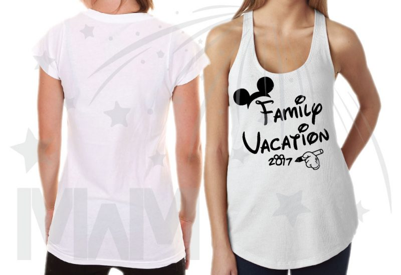Family Set Of Shirts Choose Any Style, Family Vacation 2017 Mickey Mouse Glove Hand married with mickey ladies white racerback tank top ladies cut tshirt