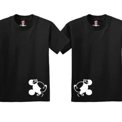 Lesbian Matching Couple Shirts I'm Her Princess She's My Princess Kissing Minie Mouse black tshirts married with mickey