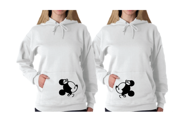 Lesbian Matching Couple Shirts I'm Her Princess She's My Princess Kissing Minie Mouse white pullover hoodies married with mickey