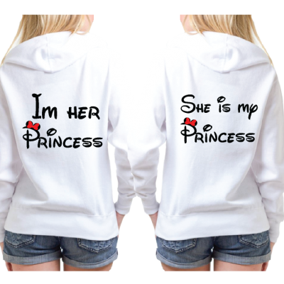 Lesbian Matching Couple Shirts I'm Her Princess She's My Princess Kissing Minie Mouse white pullover hoodies