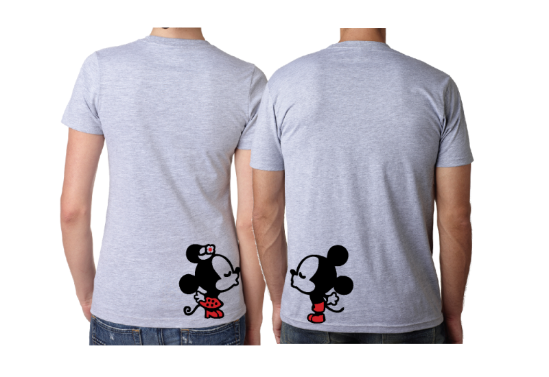 Wifey Hubby Super Cute Mickey Minnie Mouse Kiss on back grey shirts married with mickey