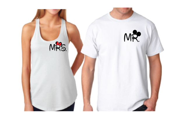 Cute Mr Mrs Big Ears Mickey Minnie Mouse Head Polka Dot Bow married with mickey white tank and tee