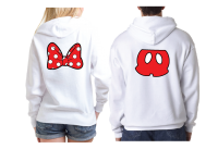 Cute Mr Mrs Matching Shirts, Minnie Mouse Polka Dots Bow, Mickey Mouse Pants married with mickey white pullover hoodies