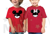 2 Matching Children's Shirts For Boy and Girl, Mickey and Minnie Head with Custom Names on Back, Brother and Sister toddler sizes black red tshirts married with mickey
