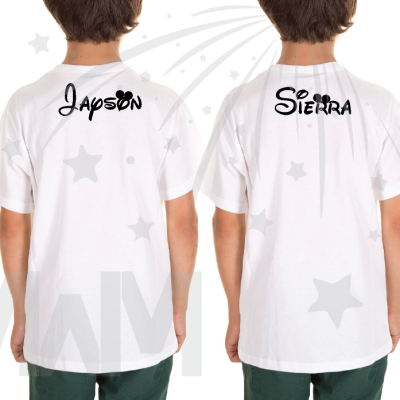 2 Matching Children's Shirts For Boy and Girl, Mickey and Minnie Head with Custom Names on Back, Brother and Sister toddler sizes black white tshirts married with mickey