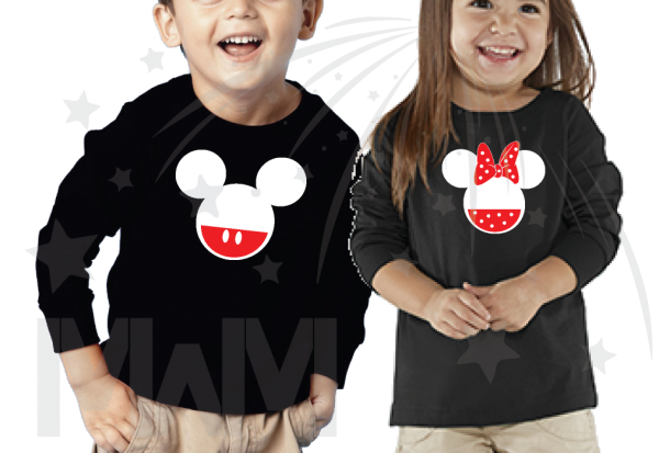 2 Matching Children's Shirts For Boy and Girl, Mickey and Minnie Head with Custom Names on Back, Brother and Sister toddler sizes black long sleeve