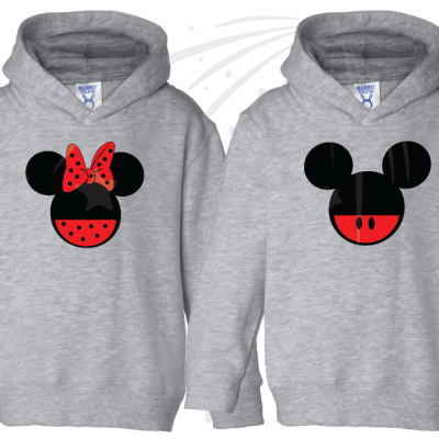 2 Matching Children's Shirts For Boy and Girl, Mickey and Minnie Head with Custom Names on Back, Brother and Sister toddler sizes grey pullovers