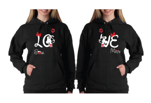 LGBT Lesbians Love Soulmate Shirts Kissing Minnie Mouse Matching Shirts for Mrs married with mickey black pullover hoodies