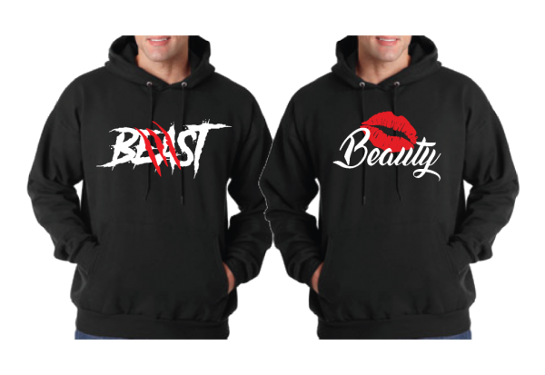 LGBT Gay Beast With Lion Scratch Beauty With Cute Lips I'm His Beauty I'm His Beast Matching Gay Shirts married with mickey black hoodies