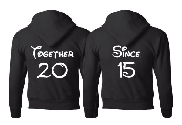 Disney Cute Matching Shirts Together Since Forever Mickey Minnie Mouse Head married with mickey black pullover hoodies