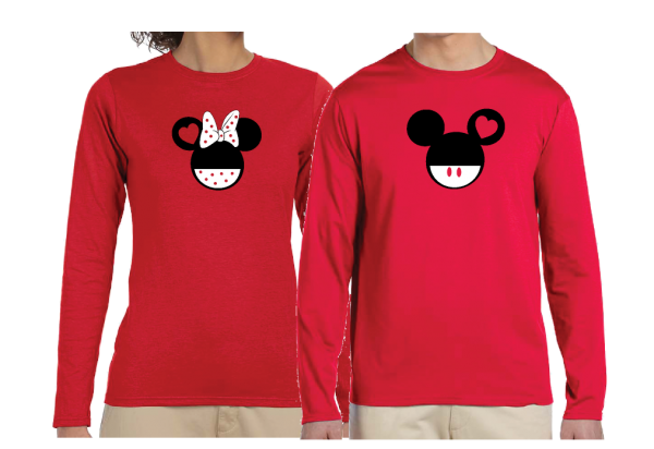 Disney Cute Matching Shirts Together Since Forever Mickey Minnie Mouse Head married with mickey red long sleeve shirts