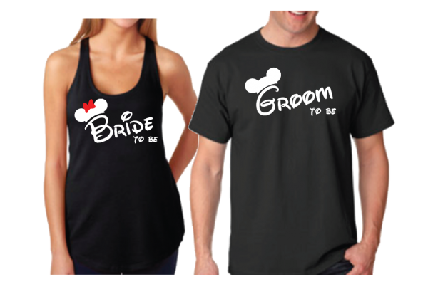 Bride to be Groom to be Mickey Minnie Mouse Designs Matching Shirts married with mickey black tank and tshirt