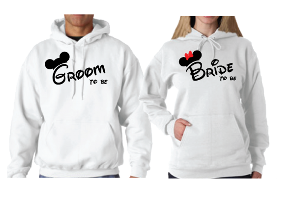 Bride to be Groom to be Mickey Minnie Mouse Designs Matching Shirts married with mickey white hoodies