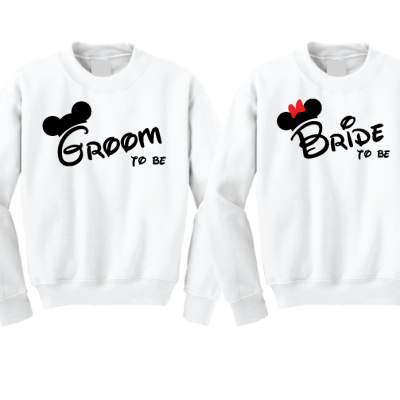 Bride to be Groom to be Mickey Minnie Mouse Designs Matching Shirts married with mickey white sweaters